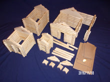 Load image into Gallery viewer, Log Cabin Building set: 250 pieces, handmade