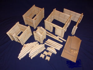 Log Cabin Building set, 250 pieces, handmade, in sturdy plastic tub