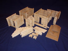 Load image into Gallery viewer, Log Cabin Building set, 250 pieces, handmade, in sturdy plastic tub