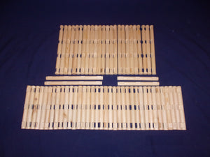 2, 3, and 4-notch cabin-building logs, 100 pieces, handmade