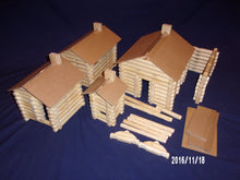 Load image into Gallery viewer, Lincoln Logs, handmade, 240 pieces, in canvas tote bag