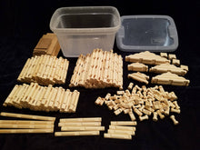 Load image into Gallery viewer, Lincoln Logs, handmade, 240 pieces, in sturdy clear plastic tub