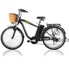 "Image of Nakto City Electric Bicycle Men 26"" Camel Black with Plastic Basket"
