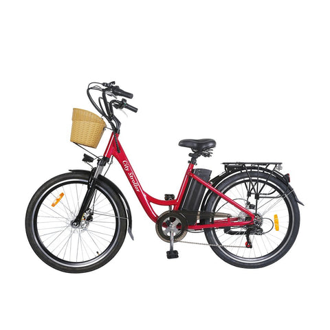 NAKTO City Electric Bicycle Aluminium Alloy Frame 26'' Stroller Red