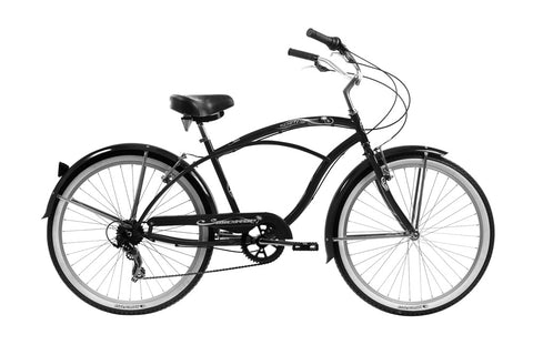 24″ Tahiti Retro Handlebar 7 Speed Shimano Shifter Coaster Brakes Beach Cruiser Bicycle