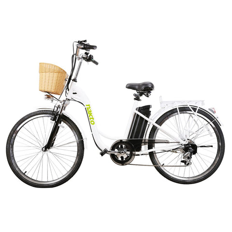 "NAKTO City Electric Bicycle Women 26"" CAMEL White with Plastic Basket"
