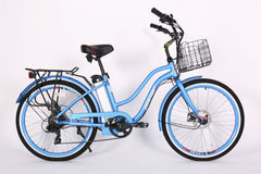 Image of Malibu Elite Electric Step-Through Beach Cruiser Bicycle 24 Volt Lithium Powered X-Treme