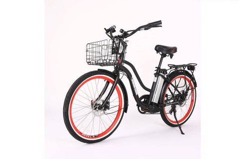 electric beach cruiser with basket 300w