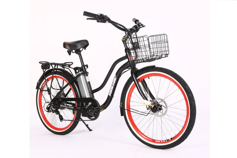 Malibu Elite Electric Step-Through Beach Cruiser Bicycle 24 Volt Lithium Powered X-Treme