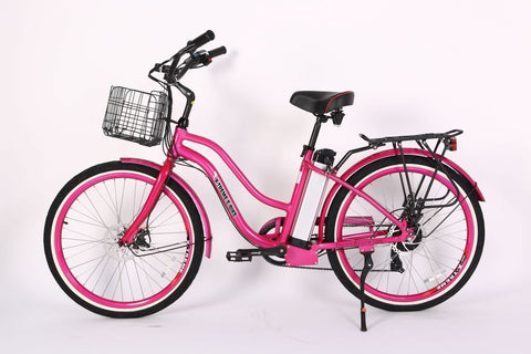 Pink e-bike with battery