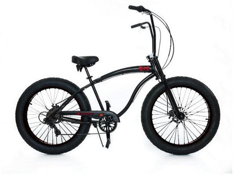 "Micargi Slugo-SS 26"" Fat Tire 7 Speed Cruiser Bicycle w/ Hi Rise Handlebar"