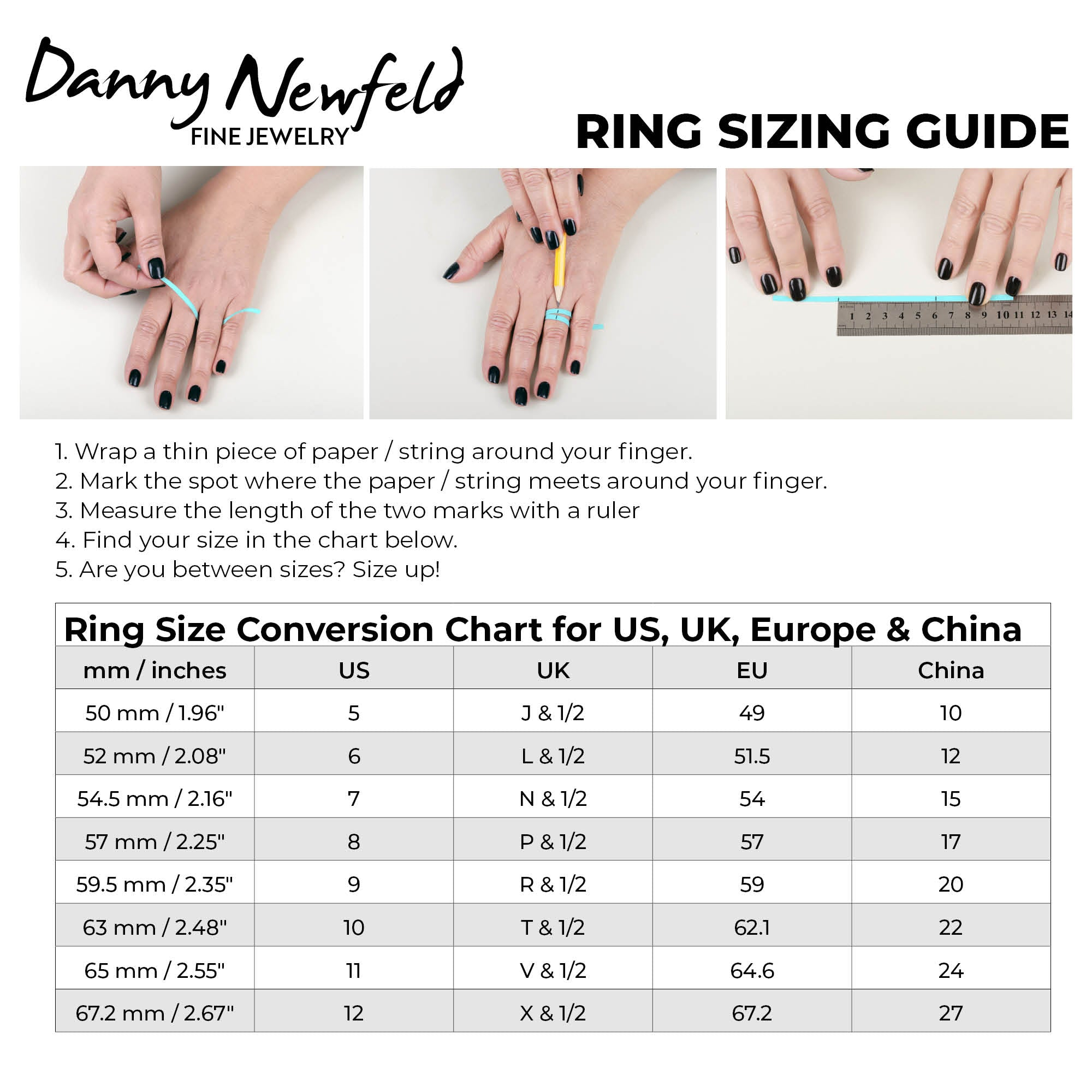 ring sizing chart danny newfeld collection