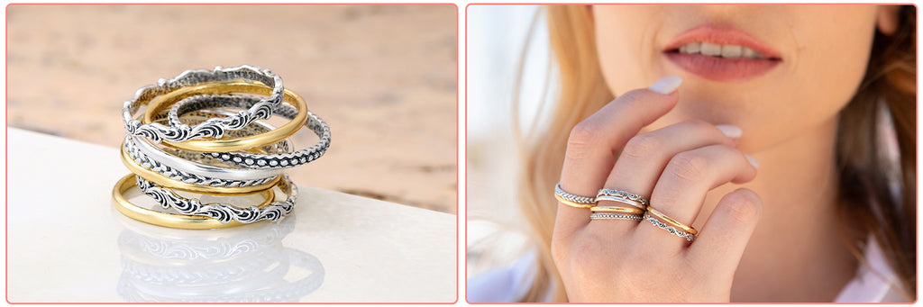 Sterling Silver Stack Rings - Set of 8