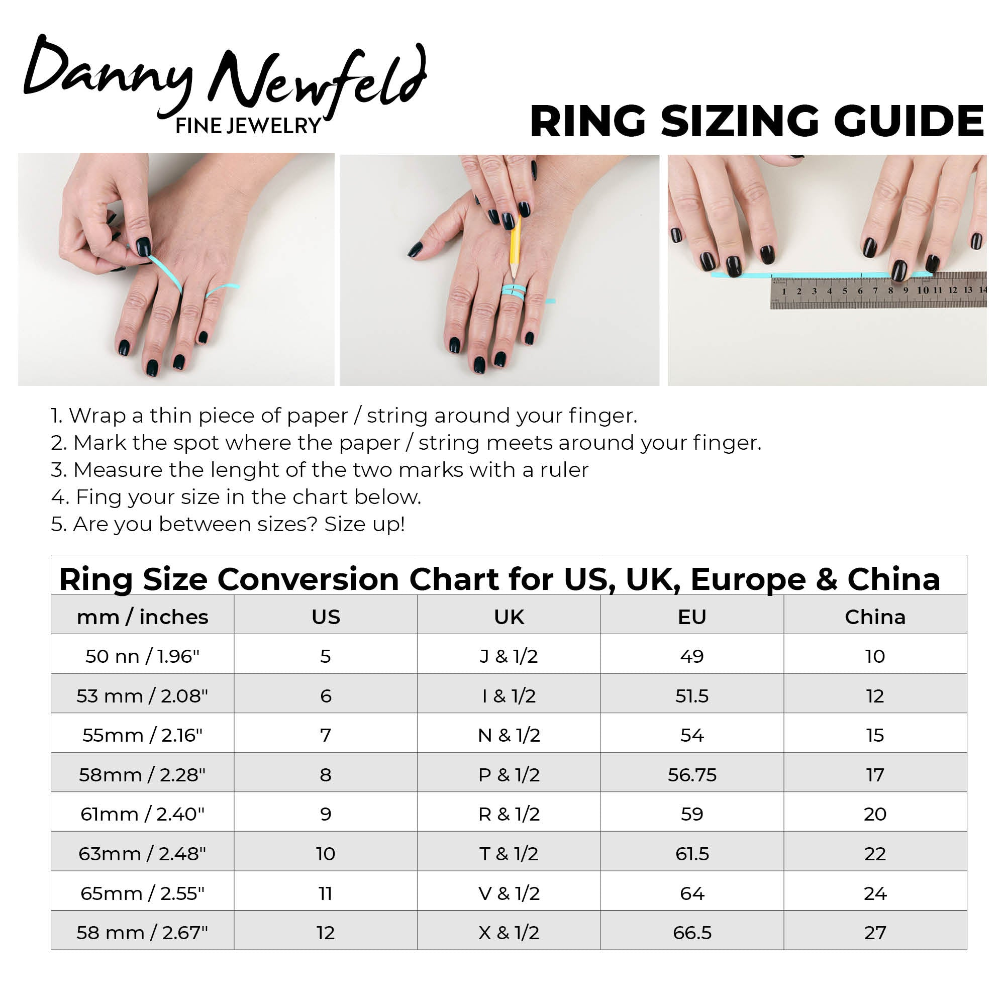 Danny Newfeld Ring Sizing Guide