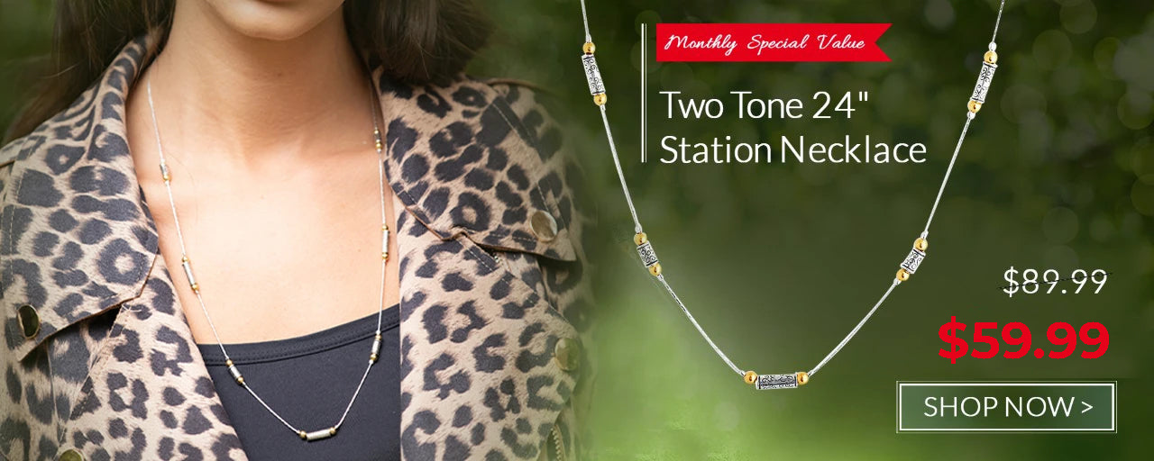 "Sterling Silver Two Tone 24"" Station Necklace Danny Newfeld Collection"