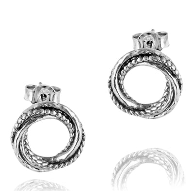 Textured Love Knot Earrings Sterling Silver - dannynewfeld