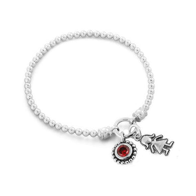 Personalized Stretch Charm Bracelet with Child and Birthstone Charms - Danny Newfeld Collection