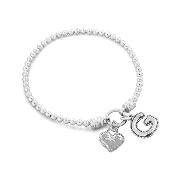 Personalized Stretch Charm Bracelet with Heart and Alphabet Charms - dannynewfeld