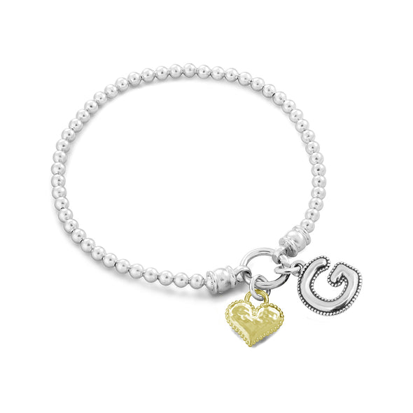 Stretch Charm Bracelet with Heart and Alphabet Charms - dannynewfeld