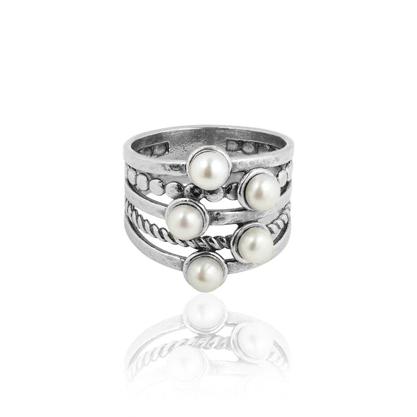 Pearl Layered Ring Sterling Silver - dannynewfeld