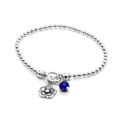 Mallow Floral and Lapis Lazuli stretch bracelet