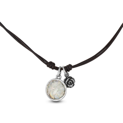 Sterling Silver and Roman Glass Corded Pendant Necklace - dannynewfeld