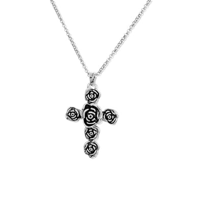 Sterling Silver Rose Cross Pendant with Chain - dannynewfeld