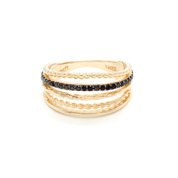 Black Spinel Ring 14K Gold