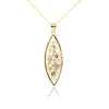 Marquise Shaped 14K Gold and Diamond Pendant