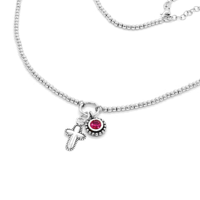 Sterling Silver Beaded Necklace with Cross and Birthstone Charms