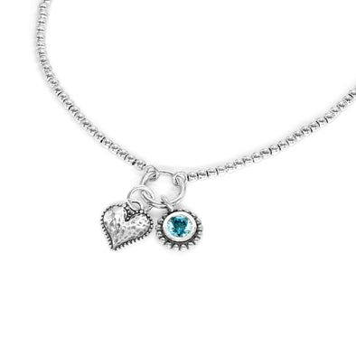 Sterling Silver Beaded Necklace with Heart and Birthstone Charms
