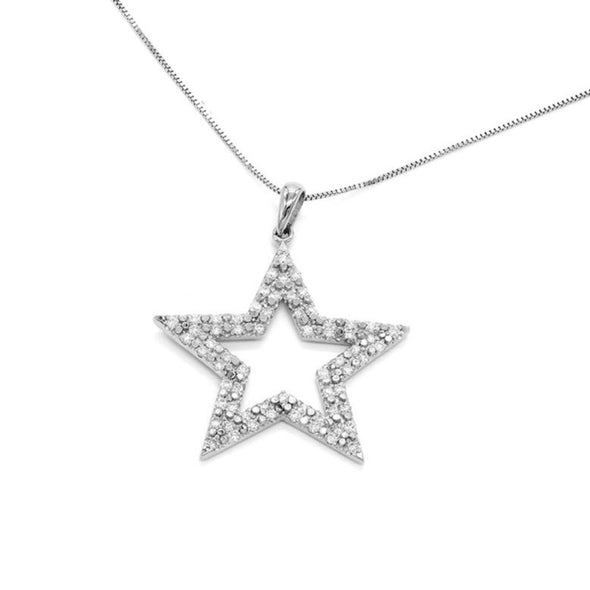 14K Gold Star 0.5cctw Diamond Pendant Necklace
