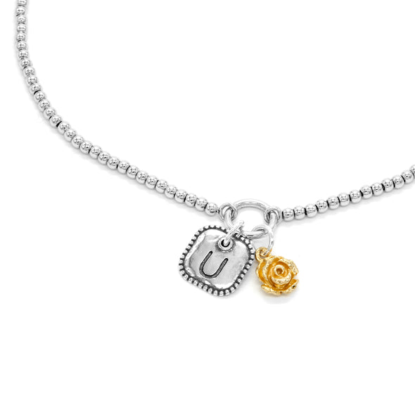 Sterling Silver Beaded Necklace with Engraved Initial and Floral Charm