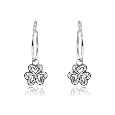 CLOVER Charm Hoop Earrings ONE INCH