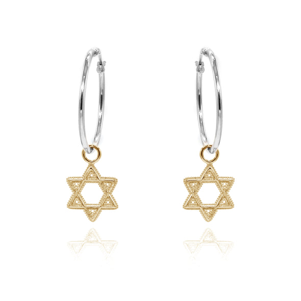 Star of David Charm Hoop Earrings ONE INCH