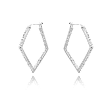 Sterling Silver Hoop Earrings Geometric Shapes Inside Outside Cubic Zirconia Gemstones