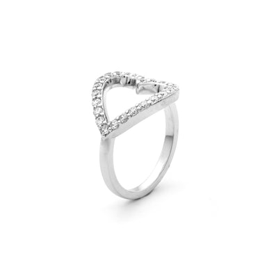 Open Heart Ring Sterling Silver with Gemstones