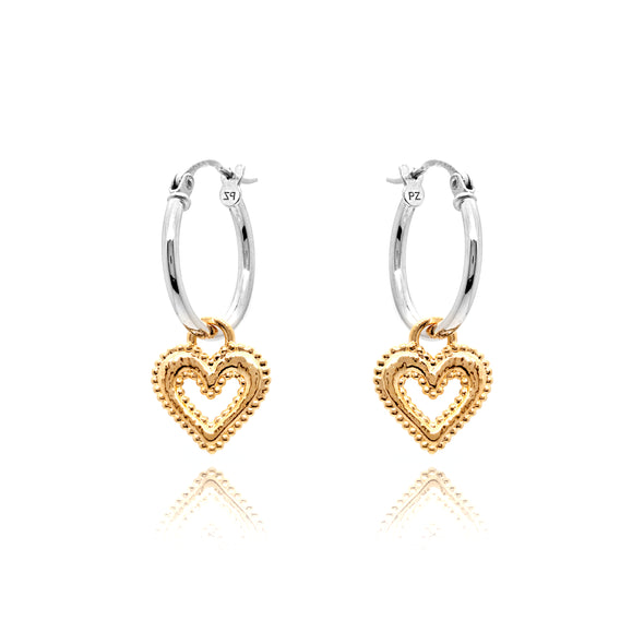 Open Heart Charm Hoop Earrings Sterling Silver