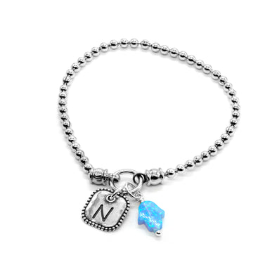 Personalized Opal Hamsa Stretch Charm Bracelet Sterling Silver