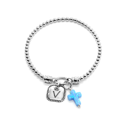Personalized Opal Cross Stretch Charm Bracelet Sterling Silver