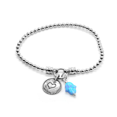 Stretch Charm Bracelet Opal Hamsa and Heart Charm Sterling Silver