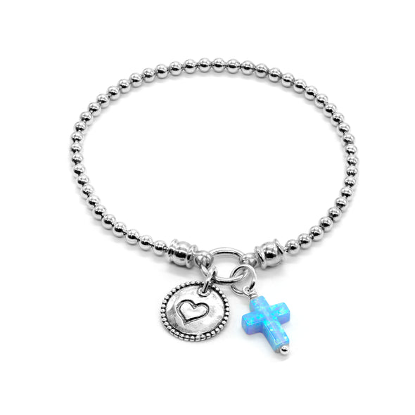 Stretch Charm Bracelet Opal Cross and Heart Charm Sterling Silver