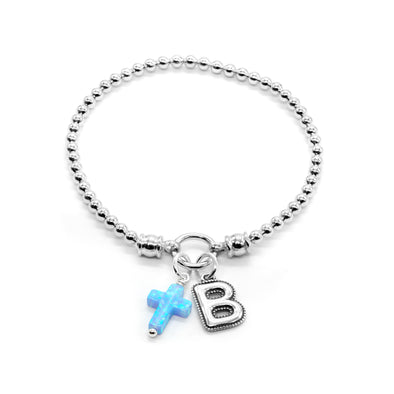 Stretch Charm Bracelet with Opal Cross and Alphabet Charms