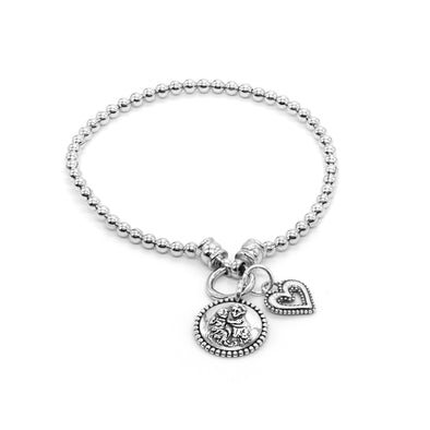 Stretch Charm Bracelet with Open heart and Saints Charm Sterling Silver