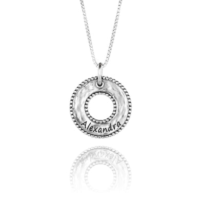 Round Personalized Pendant Necklace Sterling Silver - dannynewfeld