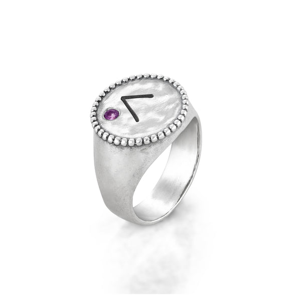 Birthstone Engravable Signet Ring Sterling Silver - Danny Newfeld Collection
