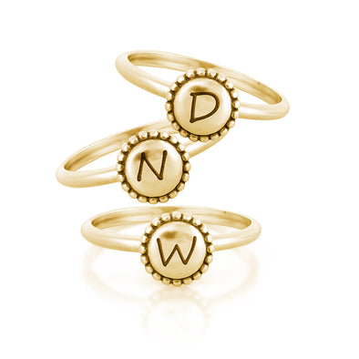Engravable Stacking Rings 14K Yellow Gold Plating Over Sterling Silver - dannynewfeld