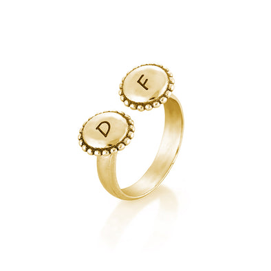 Engravable Open Ring with 14K Yellow Gold Plating Over Sterling Silver - Danny Newfeld Collection