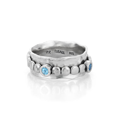 BLUE topaz Spinner Ring Sterling Silver - Danny Newfeld Collection