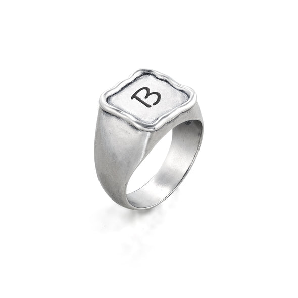 Engravable Square Signet Ring Sterling Silver - Danny Newfeld Collection